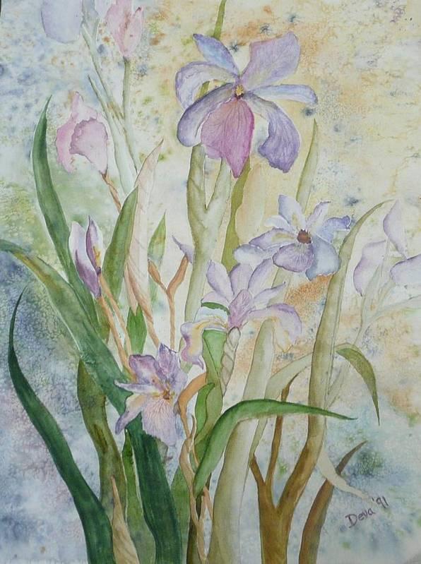 Iris Art Print featuring the painting Mystic Iris by Deva Claridge