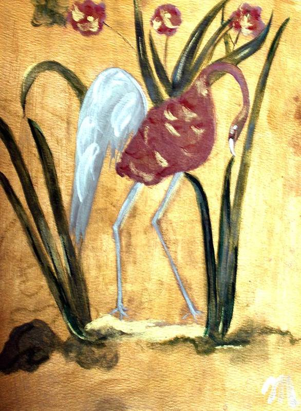 Wildlife Art Print featuring the painting Oriental Crane by Michela Akers