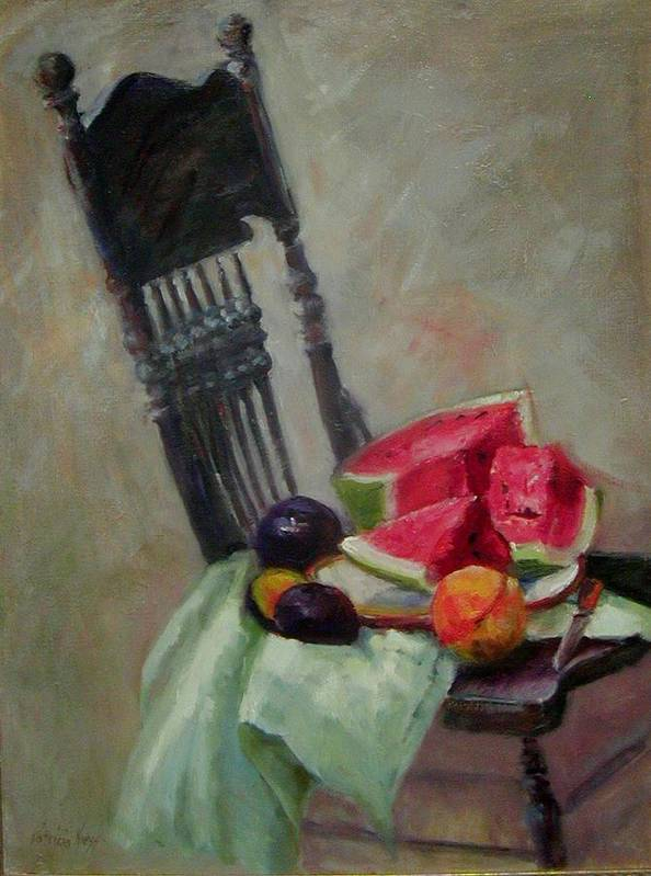 Antique Chair Art Print featuring the painting Picnic by Patricia Kness