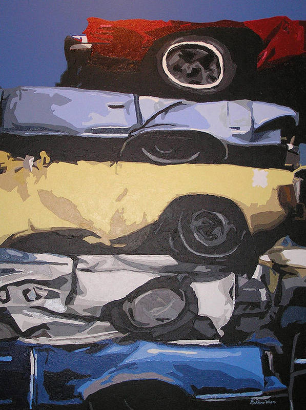 Cars Art Print featuring the painting Reunited by Ricklene Wren