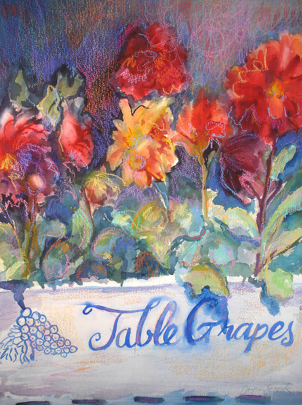 Flowers Art Print featuring the painting Table Grapes by Joyce Kanyuk