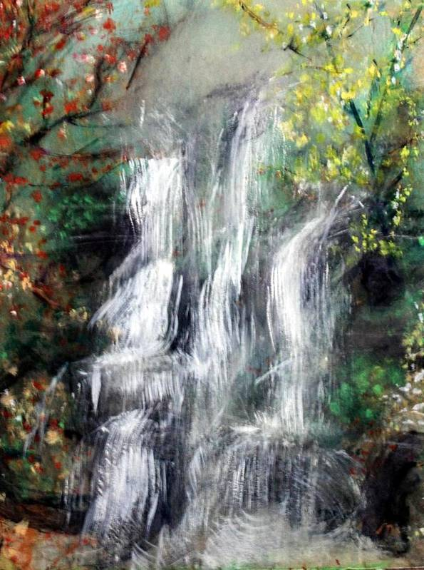 Landscape Art Print featuring the painting Woodland Falls by Michela Akers