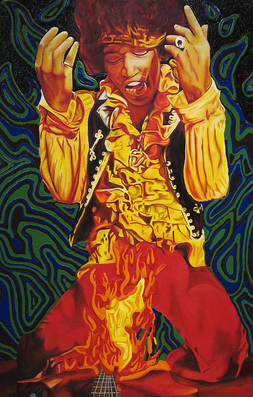 Jimi Hendrix Art Print featuring the painting Jimi Hendrix Fire by Joshua Morton