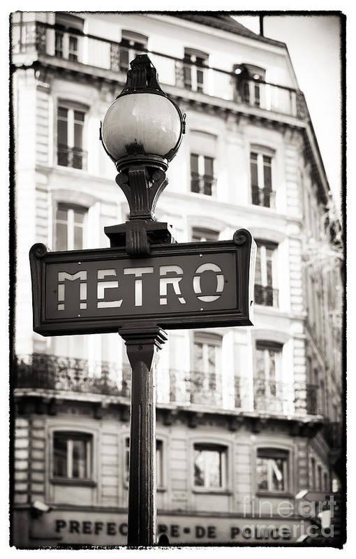 Vintage Paris Metro Art Print featuring the photograph Vintage Paris Metro by John Rizzuto