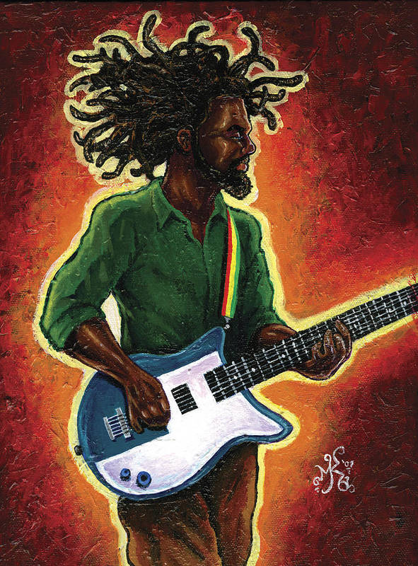 Guitar Art Print featuring the painting Electric by Marcus Anderson