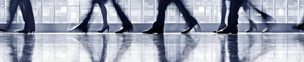 Corporate Business Art Print featuring the photograph Businesspeople Walking In Lobby, Low by Poba