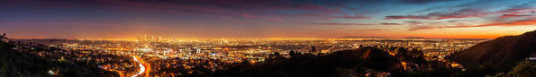 Panoramic Art Print featuring the photograph Panoramic View Of Los Angeles At Dusk by Bob Stefko