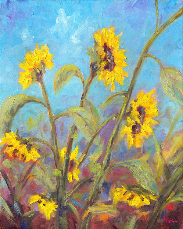 Sunflower Art Print featuring the painting Bathing Beauties by Jeff Pittman