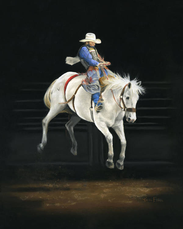 Rodeo Art Print featuring the pastel Hangin' On by Karen Elkan