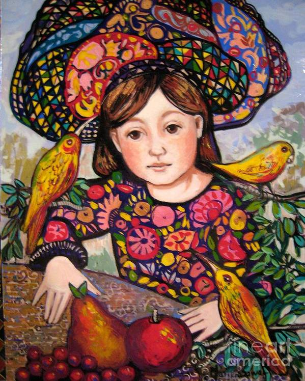 Medieval Art Print featuring the painting Madeline with flowers and birds by Marilene Sawaf