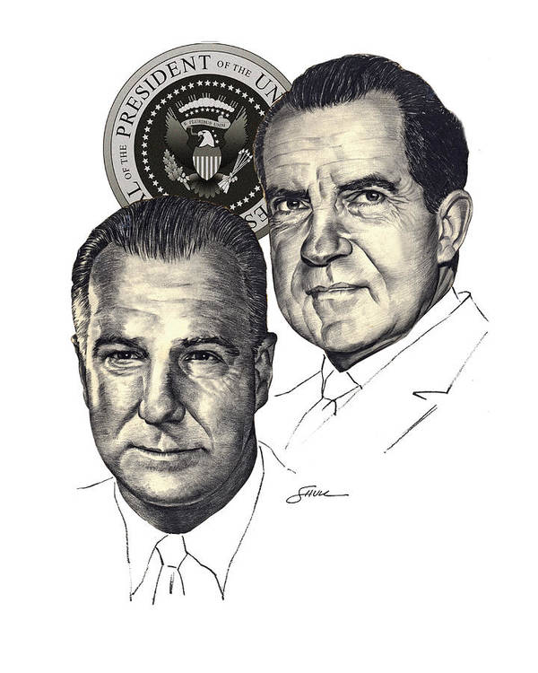 Nixon And Agnew Art Print featuring the drawing Nixon and Agnew by Harold Shull
