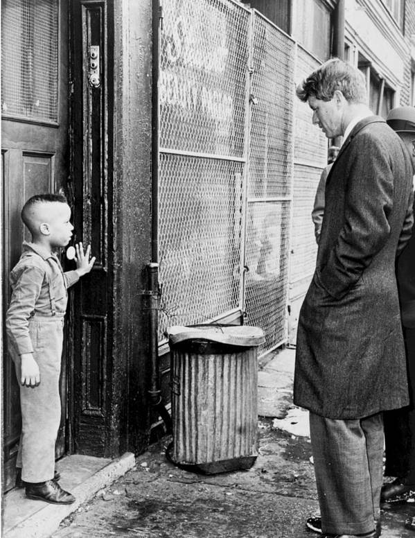 Robert F Kennedy with a Young Black Child 1960s by Mountain Dreams