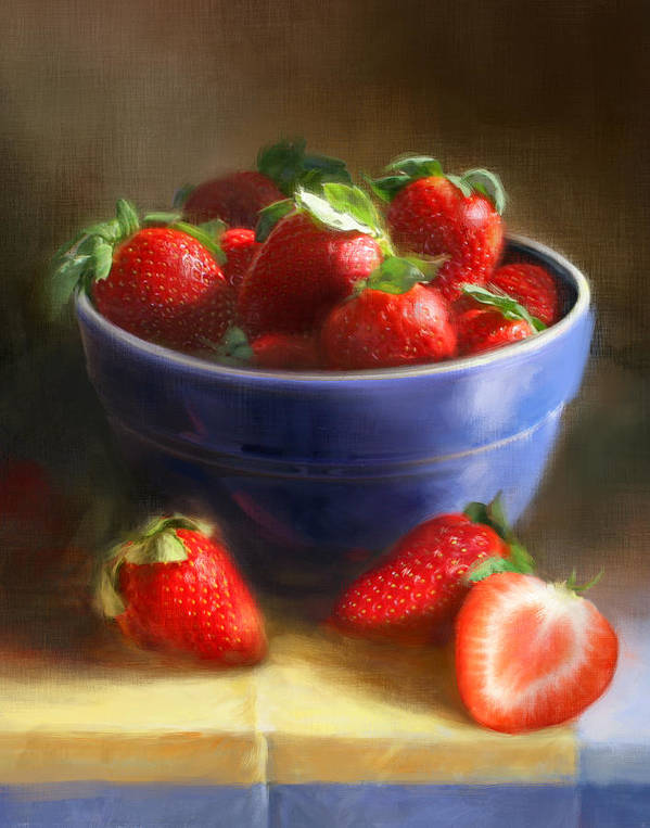 Strawberry Art Print featuring the painting Strawberries on Yellow and Blue by Robert Papp