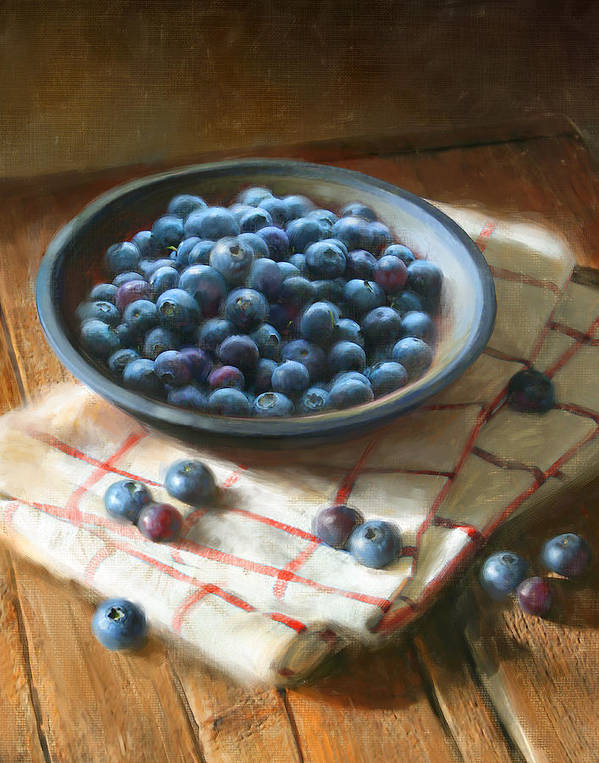 Blueberries Art Print featuring the painting Blueberries by Robert Papp