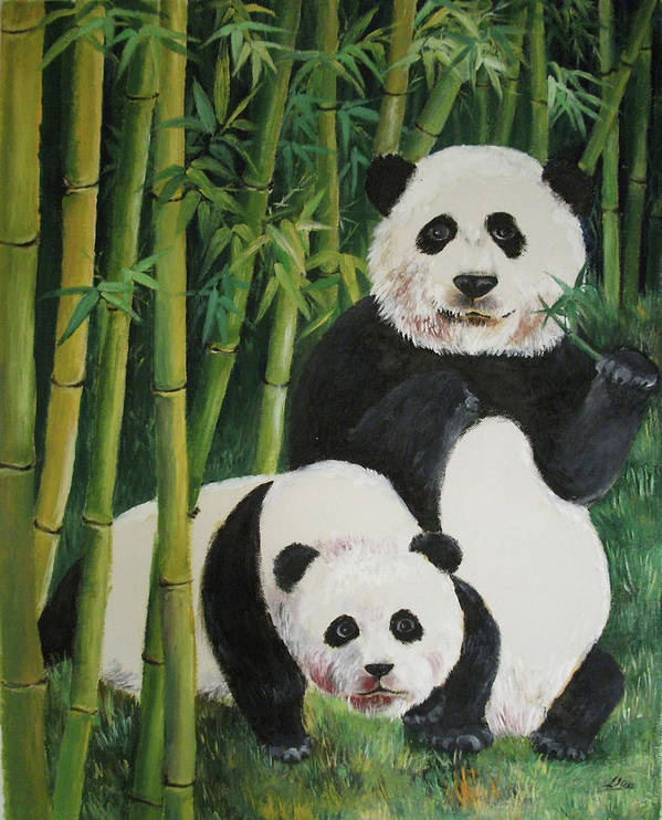 Nature Art Print featuring the painting Mother And Child 2 by Lian Zhen