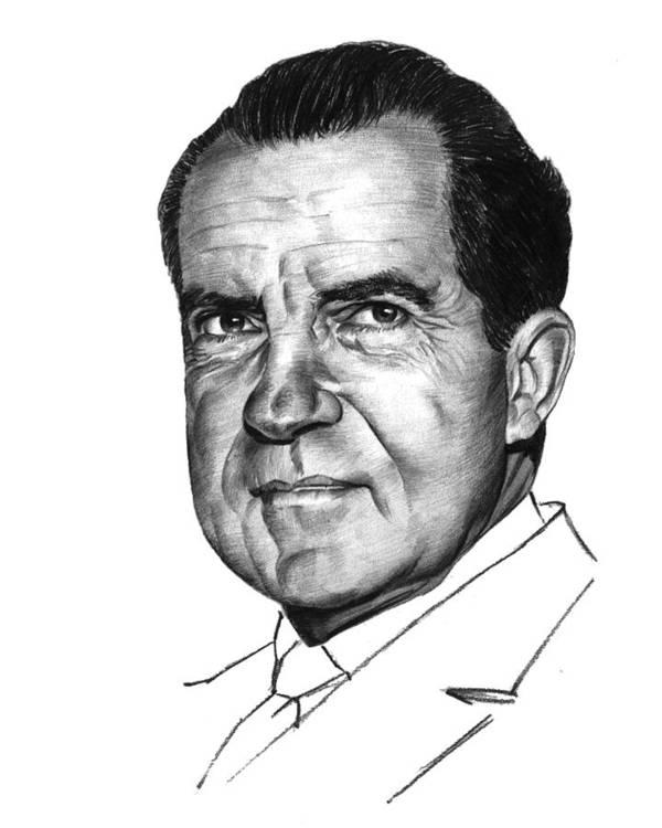 Nixon Art Print featuring the drawing Nixon by Harold Shull