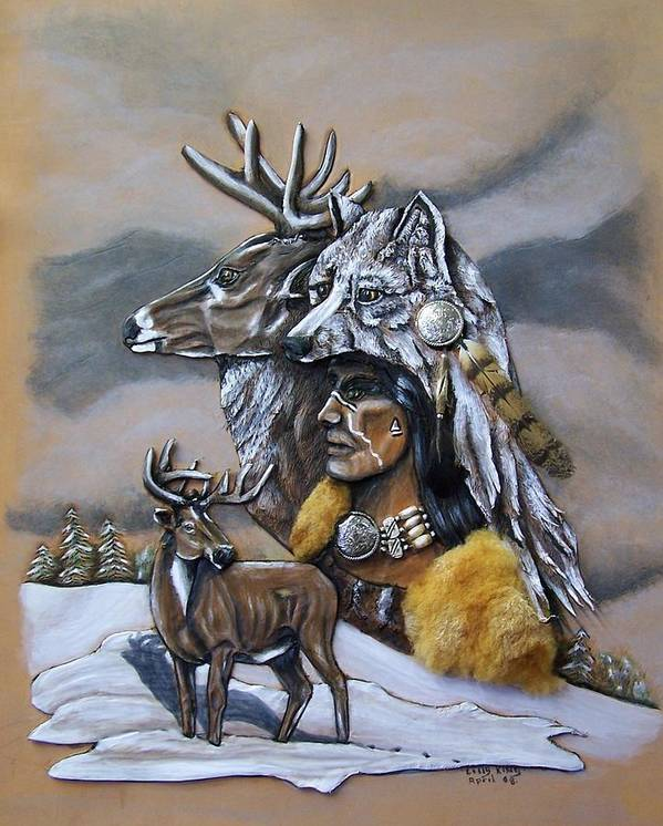 Portraits Art Print featuring the painting Pray for the Deer. by Lilly King