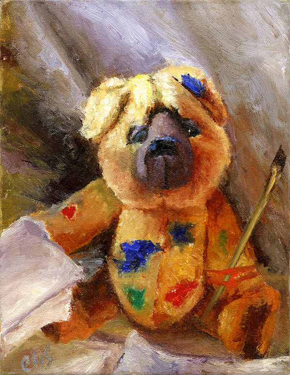 Teddy Bear Art Art Print featuring the painting Stuffed with luv by Chris Neil Smith