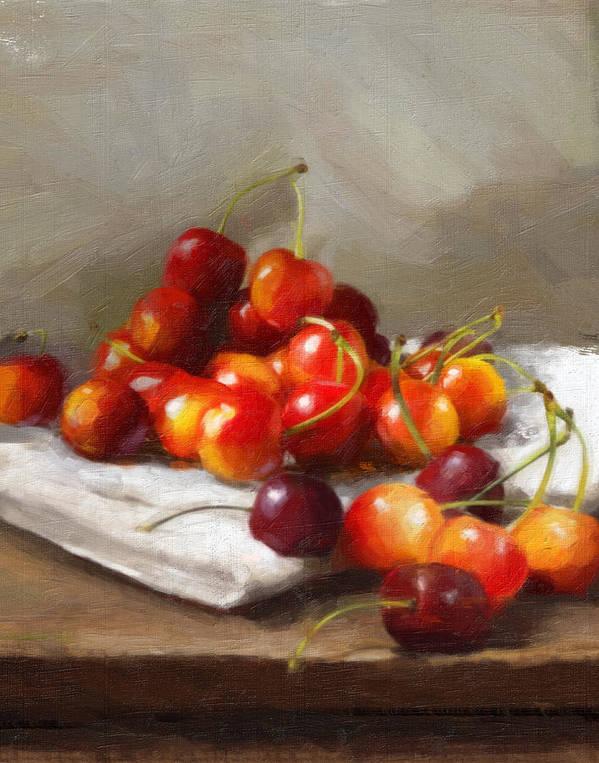 Cherries Art Print featuring the painting Summer Cherries by Robert Papp