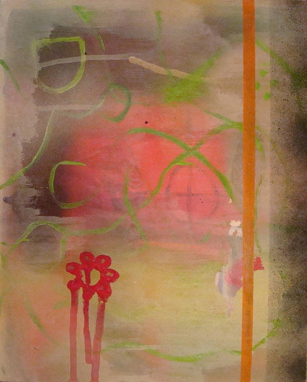 Modern Abstract Art Print featuring the painting Weeping Flower by W Todd Durrance