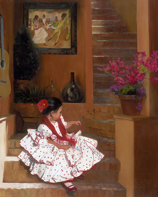 Mexico Art Print featuring the painting Western Grace of Good Cheer  Mexico  from The Three Graces of the West by Anna Bain