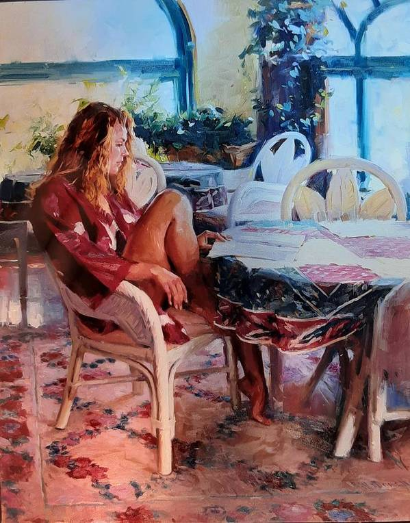Figurative Art Print featuring the painting Morning Muse by Ron W McDowell