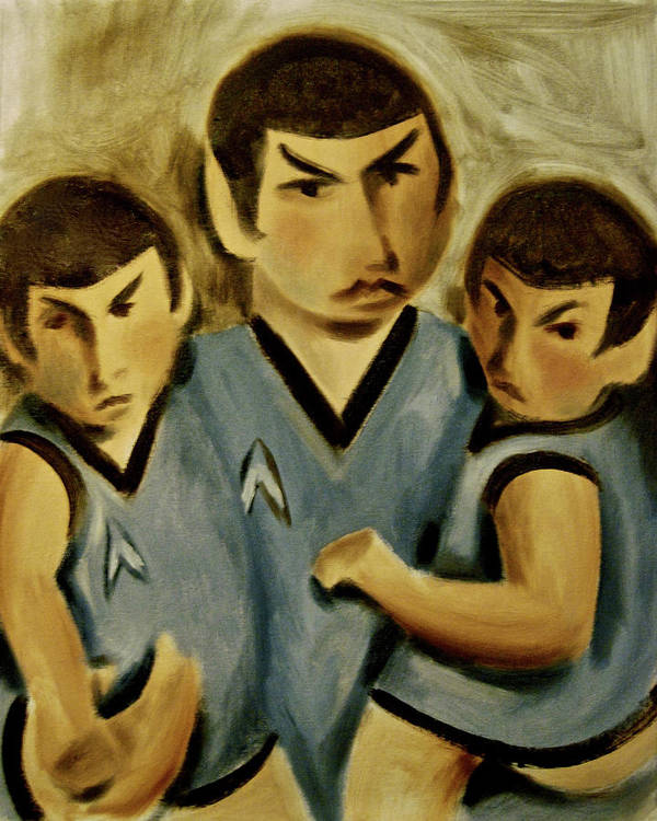 Spock Twins Art Print featuring the painting Spock Twins Art Print by Tommervik