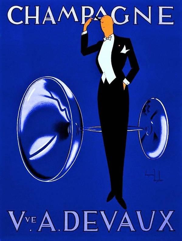 Vintage Champagne Vve A. Devaux Art Deco Alcoholic Beverage Advertising Poster in Rare Blue by Jeanpaul Ferro