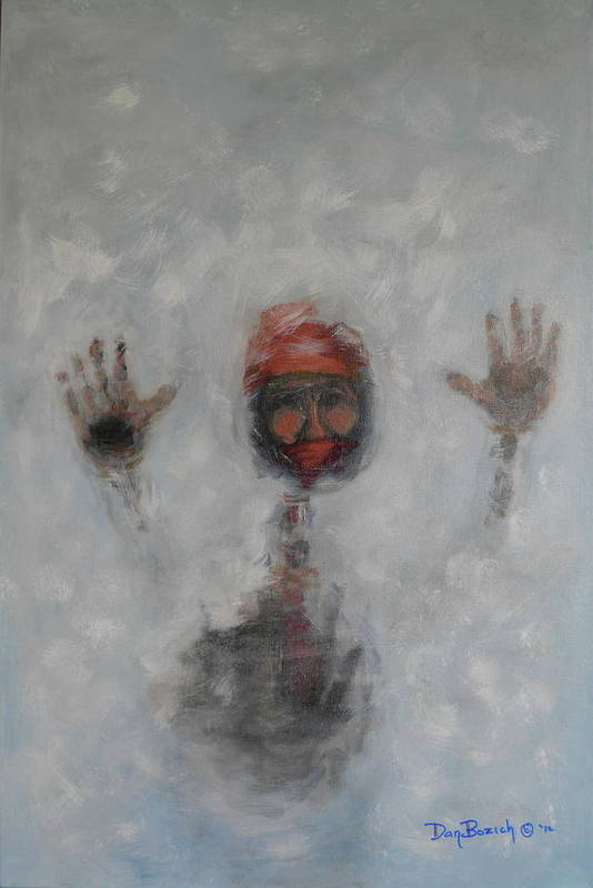 Winter Art Print featuring the painting Frosty Window by Dan Bozich