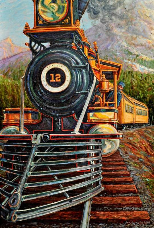 Train Art Print featuring the painting No.12 in the Mountains by Gary Symington