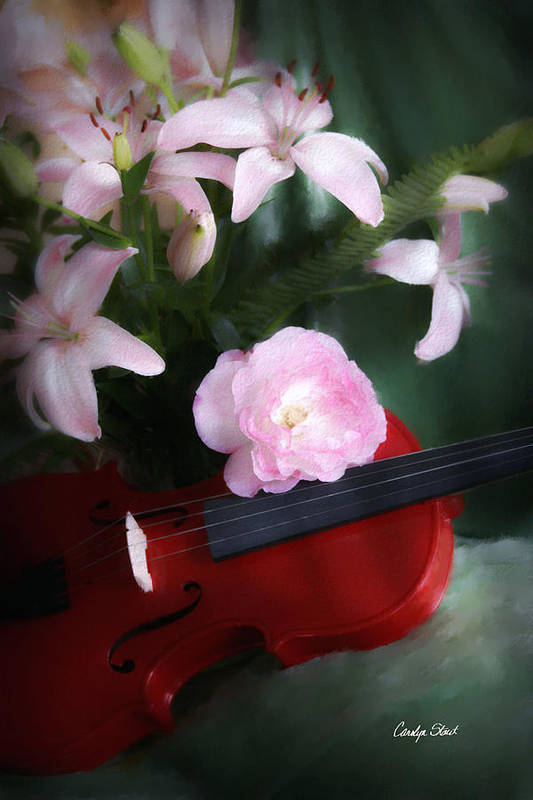 Violin Art Print featuring the digital art Tinas Song on a Red Violin by Carolyn Staut