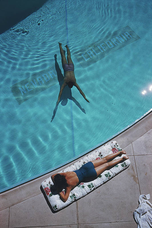 Young Men Art Print featuring the photograph Swimmer And Sunbather by Slim Aarons