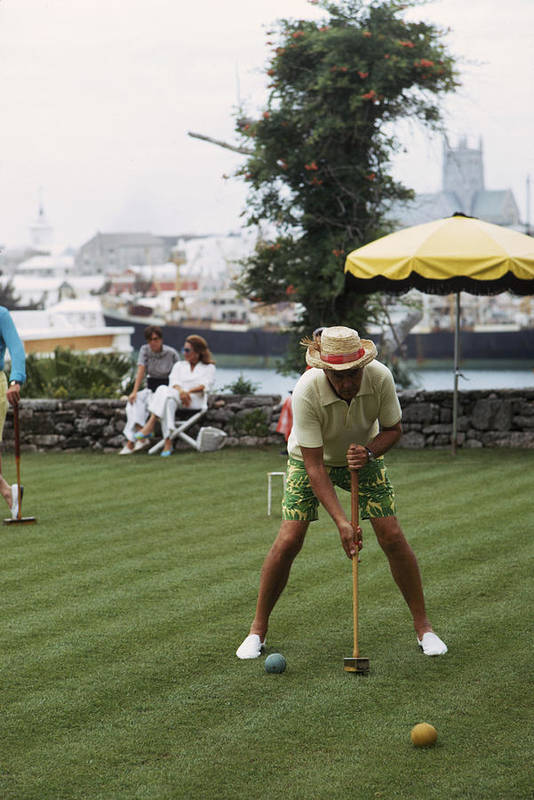 Straw Hat Art Print featuring the photograph Croquet by Slim Aarons