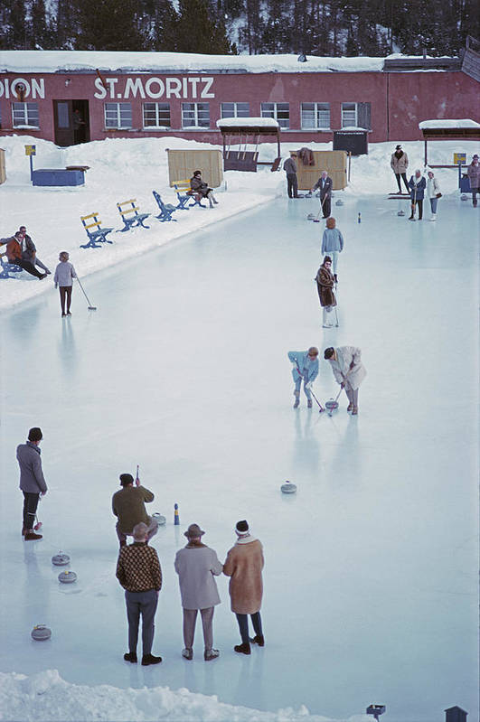 People Art Print featuring the photograph Curling At St. Moritz by Slim Aarons