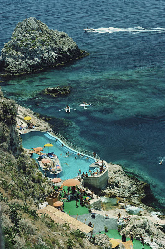 People Art Print featuring the photograph Hotel Taormina Pool by Slim Aarons