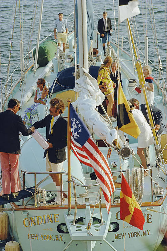 People Art Print featuring the photograph Party In Bermuda by Slim Aarons