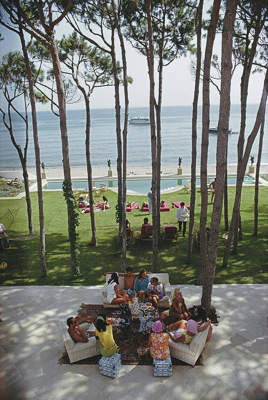 People Art Print featuring the photograph Party In Marbella by Slim Aarons