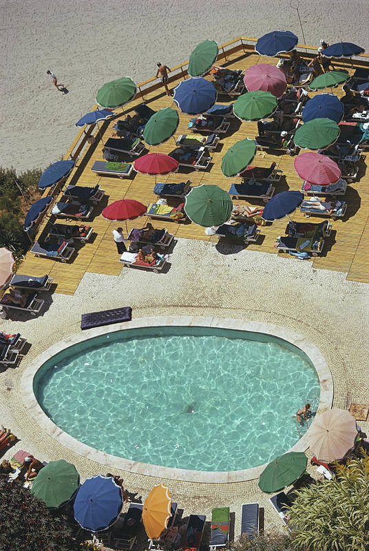People Art Print featuring the photograph Pool At Carvoeiro by Slim Aarons