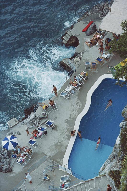 1980-1989 Art Print featuring the photograph Pool On Amalfi Coast by Slim Aarons