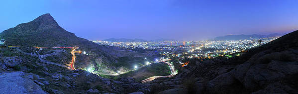 Scenics Art Print featuring the photograph Blue Hour Ajmer City Panorama by Nimit Nigam