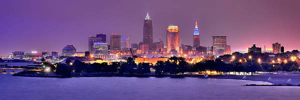 Cleveland Skyline Art Print featuring the photograph Cleveland Skyline at Night Evening Panorama by Jon Holiday