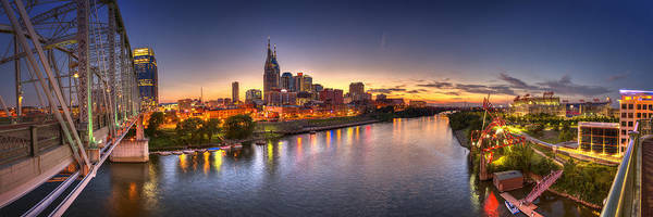 Pano Art Print featuring the photograph Nashville Skyline Panorama by Brett Engle