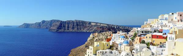 Scenics Art Print featuring the photograph Oia Panoramic, Santorini, Greece by Chrishepburn
