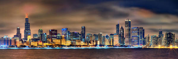 Chicago Art Print featuring the photograph Chicago Skyline at NIGHT Panorama Color 1 to 3 Ratio by Jon Holiday