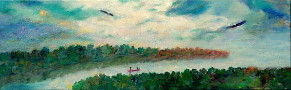 Canoeing On The Big Canadian Lakes Art Print featuring the painting Exploring Our Lake by Naomi Gerrard