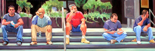 Figurative Art Print featuring the painting Lunch Break - Men at Work Series by Merle Keller