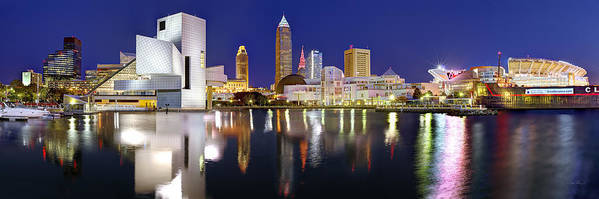 Cleveland Skyline Art Print featuring the photograph Cleveland Skyline at Dusk Rock Roll Hall Fame by Jon Holiday