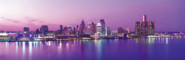 Dawn Art Print featuring the photograph Detroit Under Purple Sky by Jeremy Woodhouse