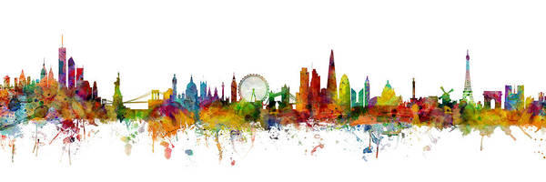 Paris Art Print featuring the digital art New York, London, Paris Skyline Mashup by Michael Tompsett