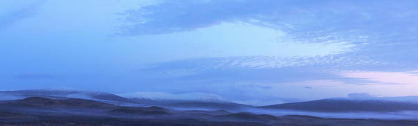 Tranquility Art Print featuring the photograph Snow Covered Hills And Mist At Dawn by Jeremy Walker